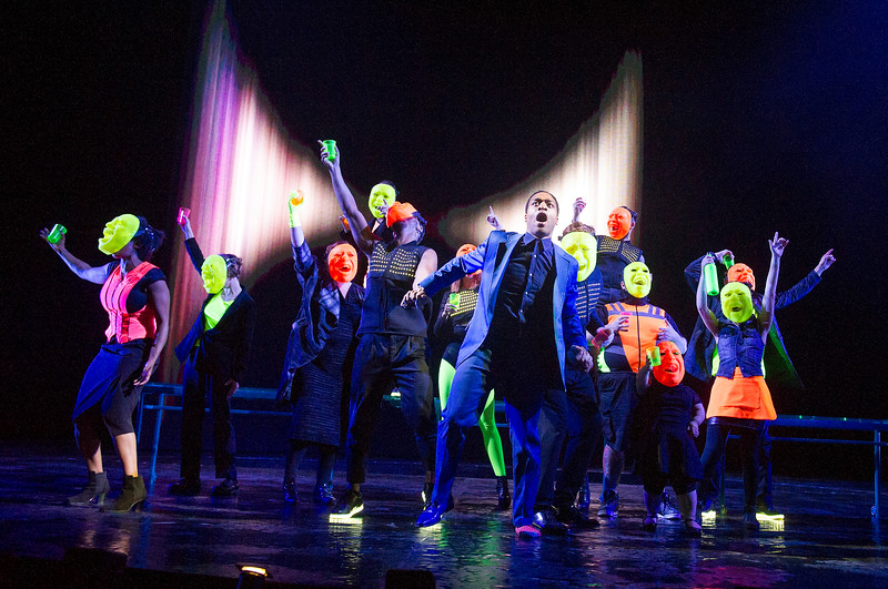 'Everyman' Play performed in the Olivier Theatre at the Royal National Theatre, London, UK