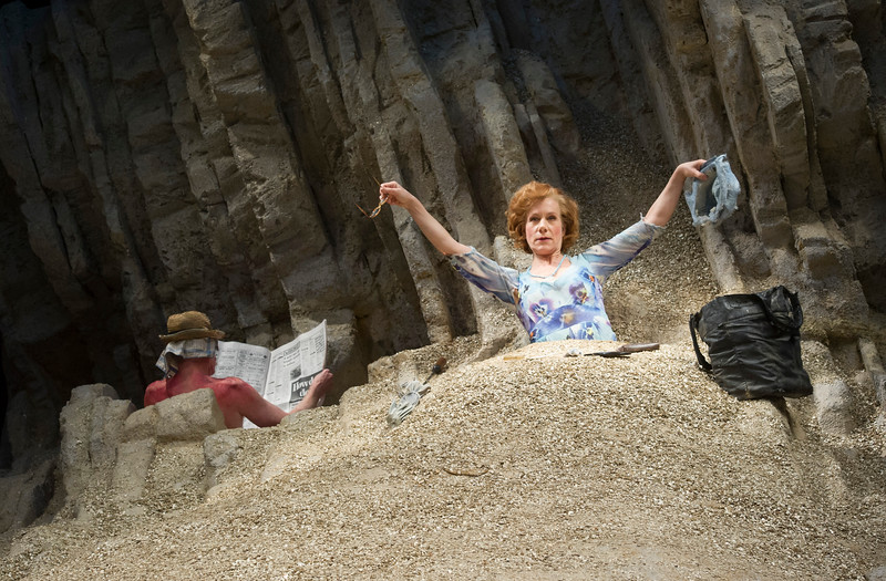 'Happy Days' Play by Samuel Beckett performed at the Young Vic Theatre, London,UK