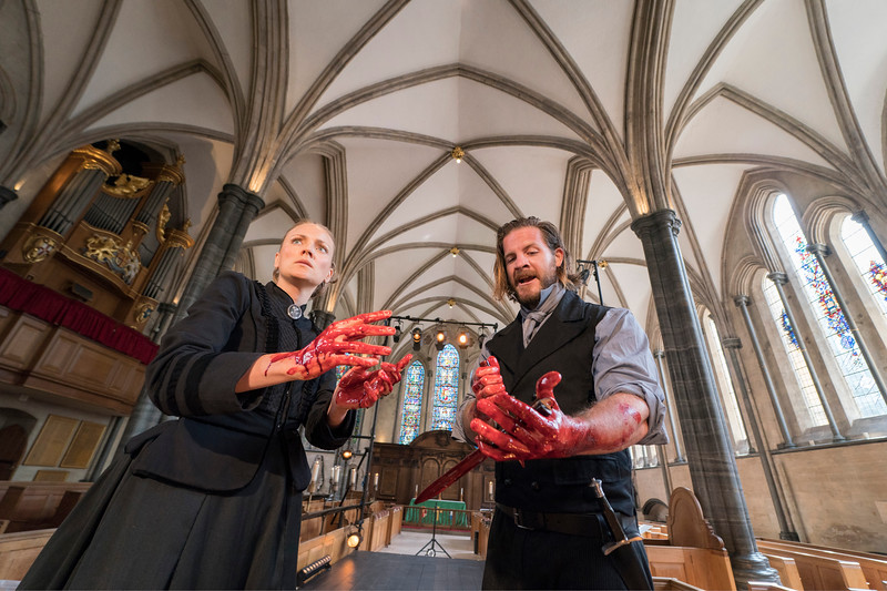 'Macbeth' Play performed by Antic Disposition Theatre Company at Temple Church, London, UK