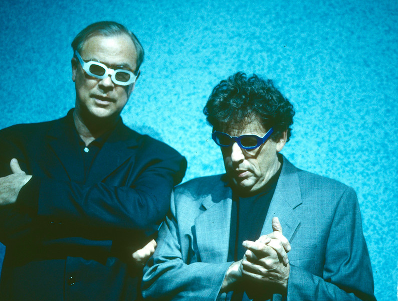 Robert Wilson and Philip Glass in 'Monsters of Grace' performed at the Barbican Theatre, London, UK 1998