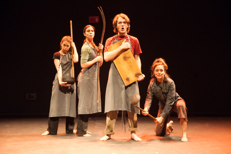 """""""on est déshabillé"""" (A Comedy About Death) created and performed by Eliza Ladd at the Berkshire Fringe. With Will Barnet, Debra Disbrow, Edward Gormley, Ian Smit, and Cassandra Weston. Photo by Enrico Spada."""