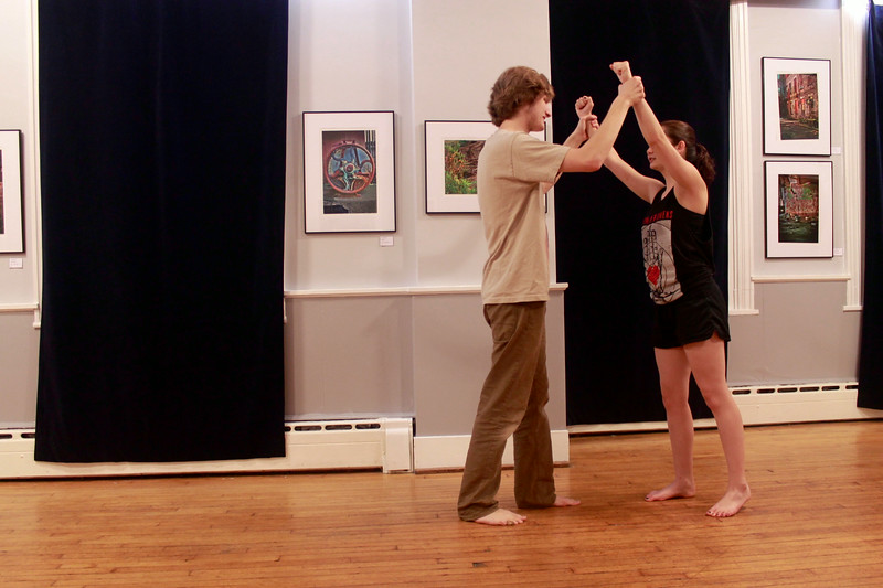 Dylan LeSage (Demetrius) and Julie Castagna (Hermia)  in rehearsal at the Whitney Center for the Arts. Photo by Fiona Barnett-Mulligan.