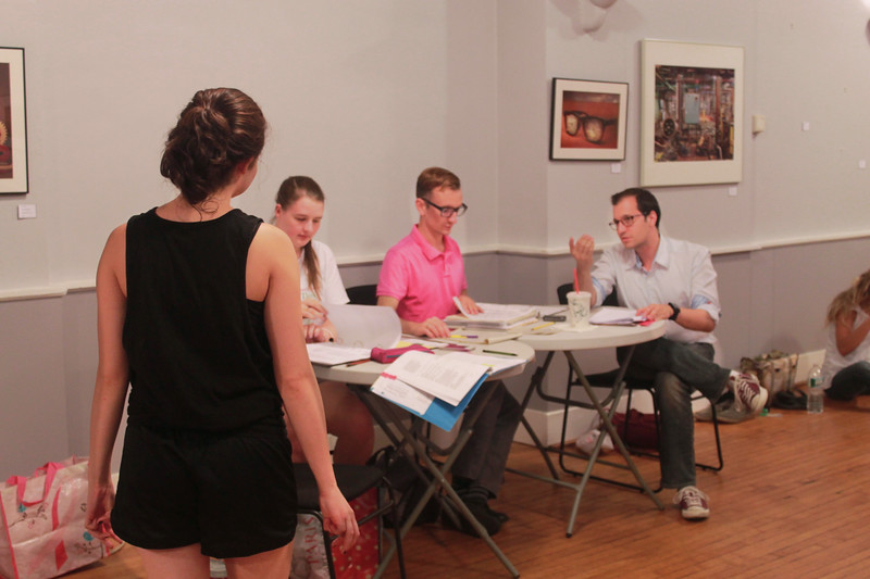 Julie Castagna (Hermia), ASM Haley Barbieri, Stage Manager Alex Reczkowski and director Enrico Spada in rehearsal at the Whitney Center for the Arts. Photo by Fiona Barnett-Mulligan.