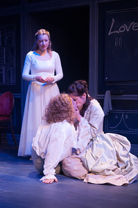 Kim Stauffer (Emilie), Oliver Wadsworth (Voltaire) and Suzanne Ankrum. Photo by Enrico Spada.