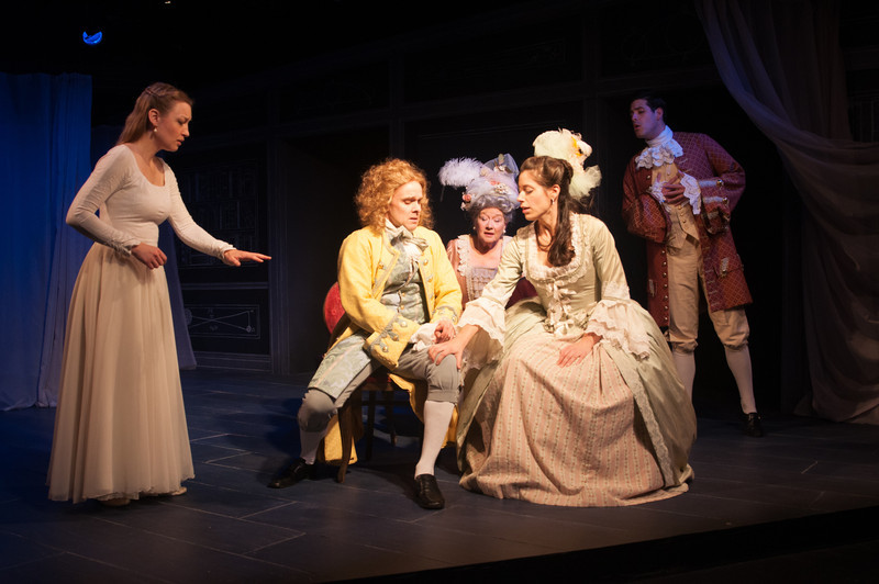 Kim Stauffer (Emilie), Oliver Wadsworth (Voltaire), Joan Coombs, Suzanne Ankrum and Brendan Cataldo. Photo by Enrico Spada.