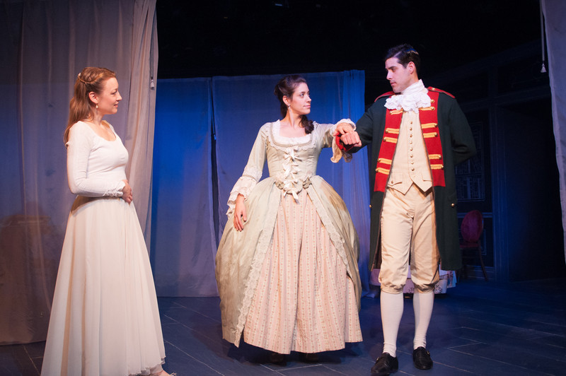 Kim Stauffer (Emilie), Suzanne Ankrum and Brendan Cataldo. Photo by Enrico Spada.