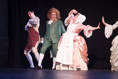 Brendan Cataldo, Oliver Wadsworth (Voltaire), and Joan Coombs. Photo by Enrico Spada.
