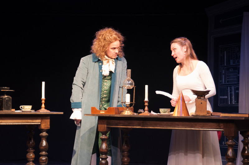 Oliver Wadsworth (Voltaire) and Kim Stauffer (Emilie). Photo by Enrico Spada.