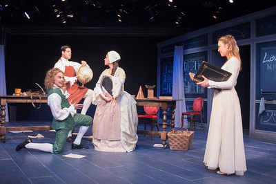 Oliver Wadsworth (Voltaire), Brendan Cataldo, Suzanne Ankrum and Kim Stauffer (Emilie). Photo by Enrico Spada.
