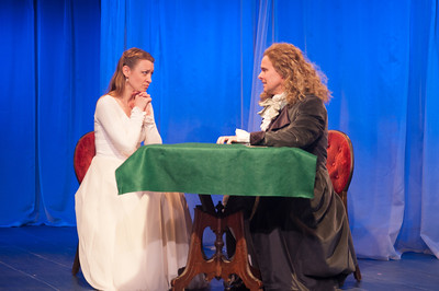 Kim Stauffer (Emilie) and Oliver Wadsworth (Voltaire). Photo by Enrico Spada.