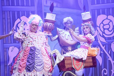 Ciarán Birmingham as Merry Beret and Kelly-Ann Murphy as Baby Beret performing a scene from  the Everyman Theatre Panto, Beauty and the Beast  Picture Darragh Kane