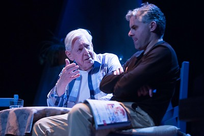 Michael Twomey and Ian McGuirk performing a scene from Bruce Grahams The Outgoing Tide  in the Everyman Theatre. Pic Darragh Kane.