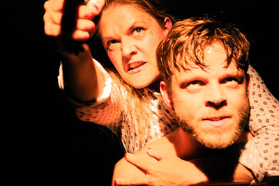 """Der er ingen der blaffer"",  theater actors Mie Larsen and Nicolai Togeby; director Jennifer Vedsted, Vildskud Festival 2014, Copenhagen"