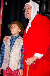Ainsley Rutherford as a younger Scrooge with Dave Teeter as Scrooge