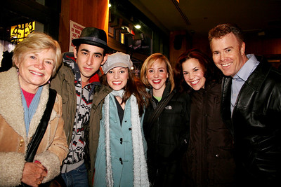 """CCA crowd meets at PLANET HOLLYWOOD after """"GREASE"""" with invited guests, Teri Ralston, Max Crumm, Laura Osnes, Anna White,  Lindsay Mendez and David Green 03/25/08"""