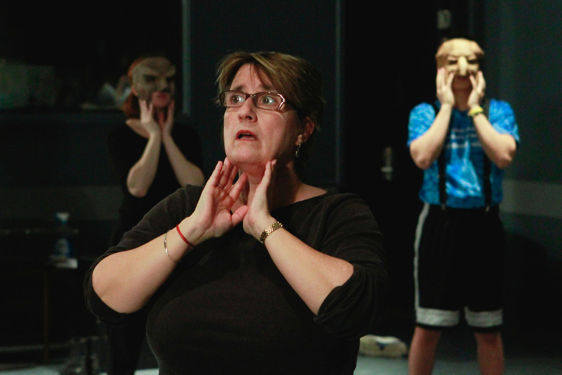 Mask and voice work with Professor Laura Hitt