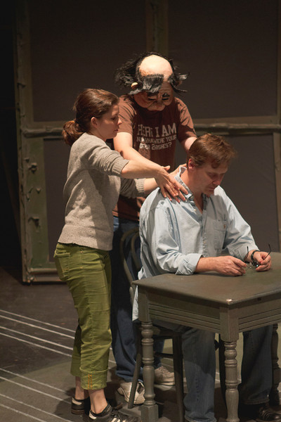 Assistant Director Kara Haas (MFA) working fight call with actors Austin Barnett and Greg Holt (MFA)