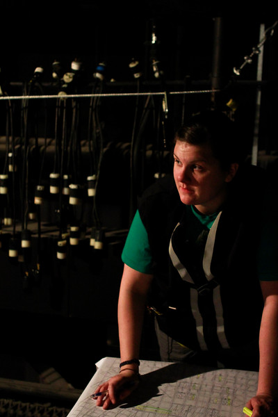 Directing the hanging of the lights<br /> MFA Design Tech Claire Phelps