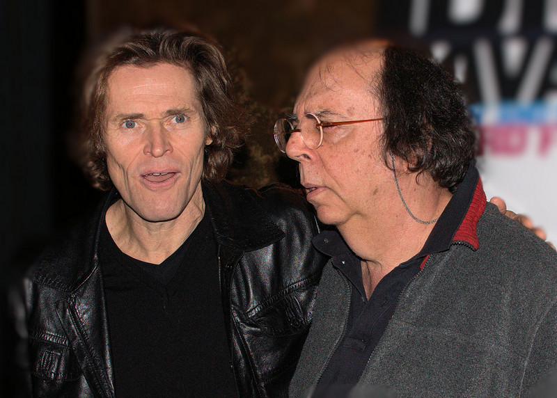 "Actor Willem Dafoe and playwright/director Richard Foreman.  They endured a photo op at the cast party following the November, 2009, opening night performance of Foreman's absurdist drama ""Idiot Savant"" at New York's Public Theater.  Dafoe starred in the piece."