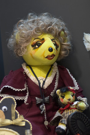 "One of the Broadway Bears auctioned each year to raise money for Broadway Cares/Equity Fights AIDS.  This one is based on the scheming orphanage director, Miss Hannigan, in ""Annie."" It was displayed at ""Curtain Call"" exhibit of work by women theatrical designers, held at New York's Lincoln Center in 2009."