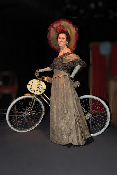 "Singer Sally Sherwood recreates four turn-of-the-century vaudeville performers in her one-woman show, ""Good Bye, My Lady Love.""  You see her here as Lillian Russell in the opening number.  In layers under this gown are outfits of Blanche Ring and Eva Tanguay, into whom Sally transformed herself with quick-changes while chatting to the audience from behind an on-stage dressing screen.  Finally came Anna Held.  The costumes were created by Jennifer Grambs for the 1999 premier at the Shooting Star Theater in New York's South Street Seaport."
