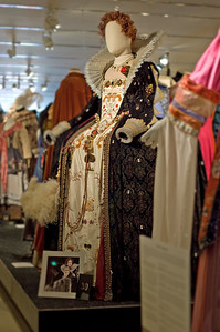 "An Elizabethan Man: it took three hardy women to lift this 80-pound costume onto the mannequin for the ""Curtain Call"" theatrical design exhibit at New York's Lincoln Center in 2009.  And it came with four pages of instructions.  The costume was designed by Linda Cho and based on Hilliard's famous portrait of Queen Elizabeth I.  The costume was worn by a man in ""Passion Play,"" done at Arena Stage in Washington, DC."