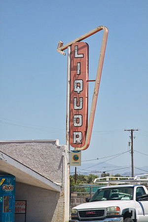 Liquor store vintage sign on Route 66, Needles, California