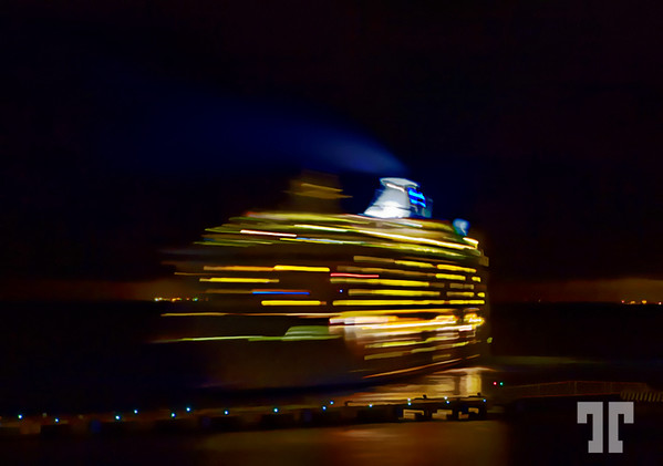 Night departure from Cozumel, Mexico