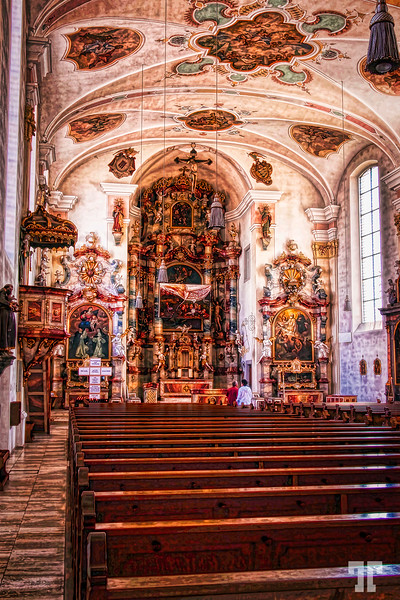 Inside of a beautiful church in Friedrichshafen, Germany