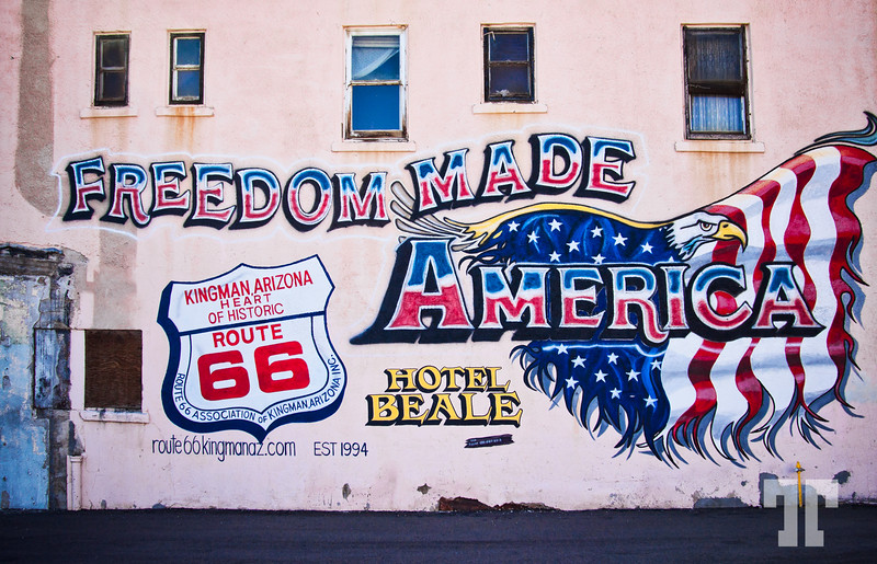 """""""Freedom Made America"""" - Mural on the historic (not functioning) Hotel Beale, in Kigman Arizona, on Route 66 (ss)"""