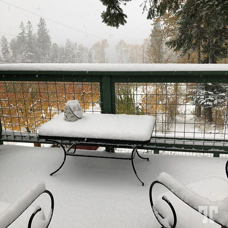 Snow in October, view from the balcony of a house we were temporary renting in the Bigfork area in Montana