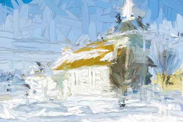 Shawmut church in winter paint abstract
