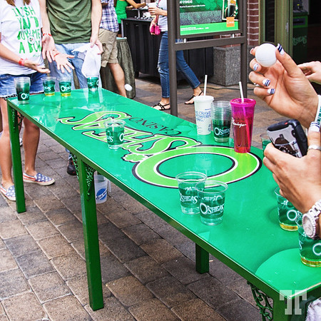 Green beer game at O'Sheas Irish pub on St.Patrick's Day in Las Vegas at Linq Promenade