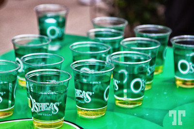 Green beer glasses at O'Sheas Irish pub on St.Patrick's Day in Las Vegas at Linq Promenade