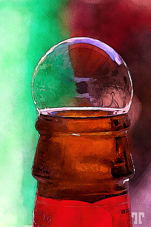Beer bubble popping out