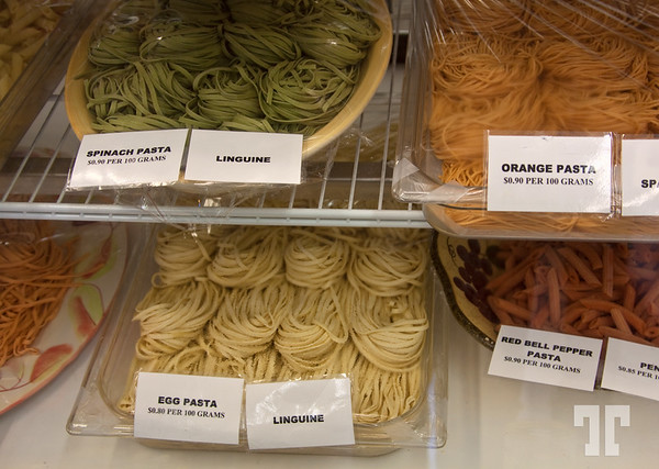 Food and Drink: Fresh Italian pastas in the deli