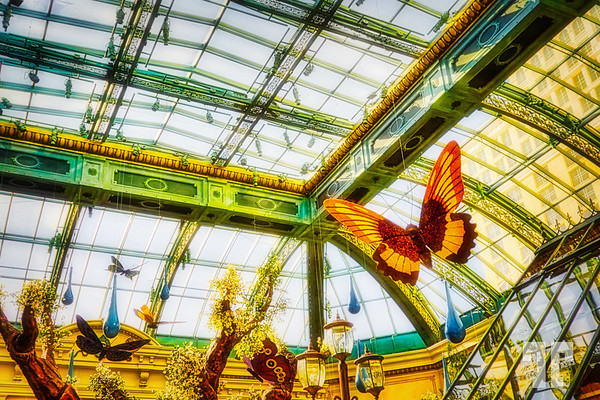 Glass and metal work at Bellagio Conservatory and Botanical Garden, Las Vegas