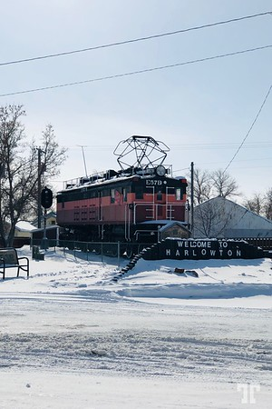 Historic train, Harlowton, Montana, winter