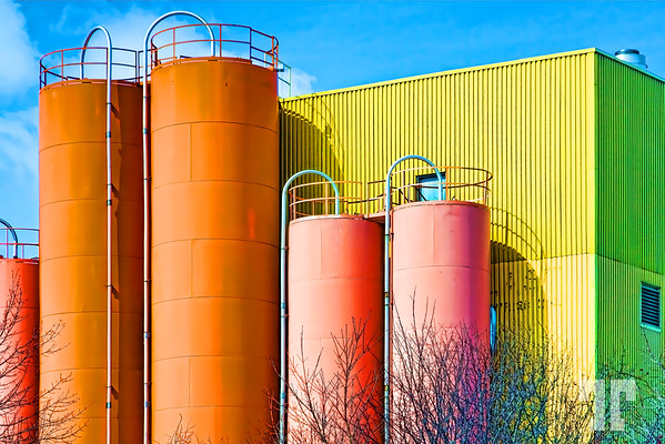 Industrial structure, Orillia, Ontario  - Some colors in the still too gray beginning of spring, here...  (ZZ)
