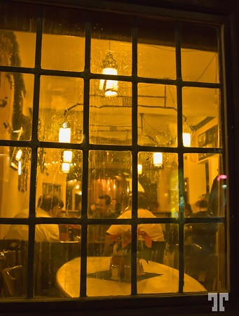 Pub window in Passau, Germany  - January