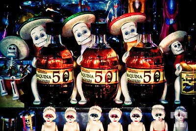 Spooky Tequila bottles in Patzcuaro, Mexico, at the time of the Day of the Death celebration