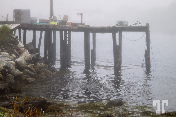 Junky fisherman's pier in the fog - St. Margret's Bay, Nova Scotia  (ZZ)