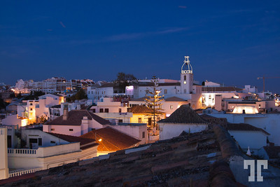 Roofs at night in Albufeira, Portugal