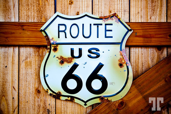 Route 66 rusted sign