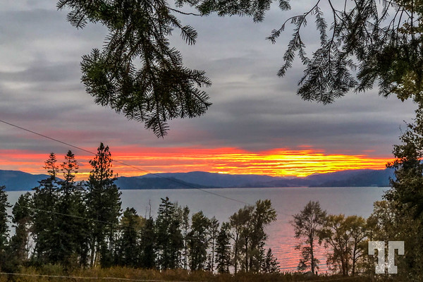Sunset on Flathead Lake Montana in the month of October