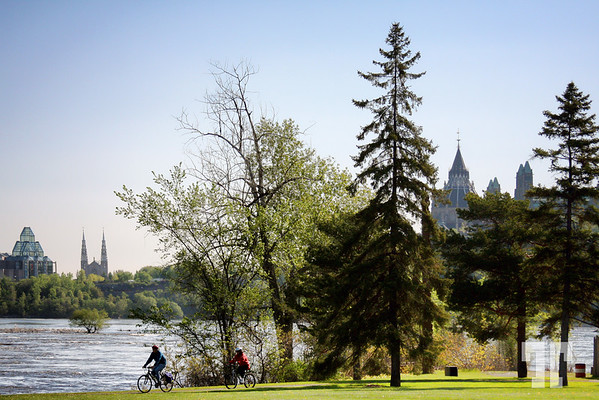 View of Ottawa City from St. Helene's Island, Quebec side of Ottawa river