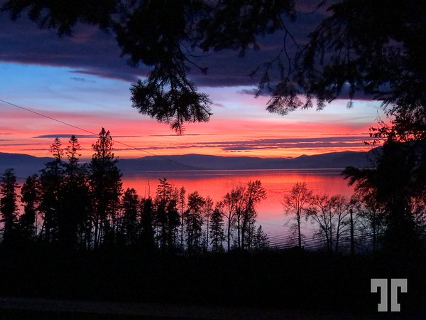 Sunset on Flathead Lake, Montana in the month of November