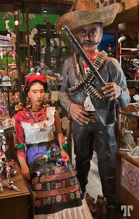 Wood sculptures and artisanal work in a specialized store in Merida