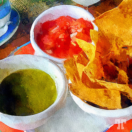 Chips and salsa still life, Mexico