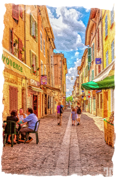 typical-medieval-street-in-provence-tatiana-travelways-DigitalWatercolor-au-ONframe
